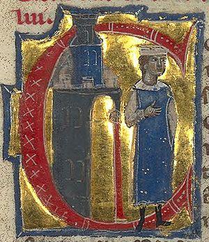 Guilhem de Saint-Leidier - Guilhem is depicted next to a castle in the manuscript that contains his vida