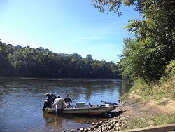 Boaters on Flint River, under GA 32 bridge.JPG