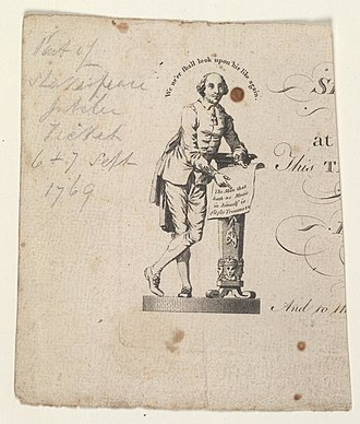Shakespeare Jubilee - Part of a ticket announcing the Shakespeare Jubilee (Bodleian Libraries, Oxford)