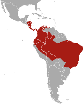 Brown-throated sloth range