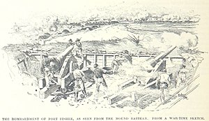 Second Battle of Fort Fisher - The bombardment as seen from the mound battery at the south end of the fort