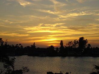 Bonita Springs, Florida - Sunset over the bay in Bonita Beach