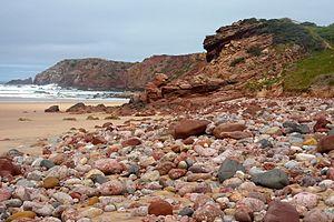 Bordeira Beach - pebbles (13463520393).jpg