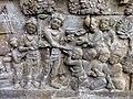 Borobudur - Divyavadana - 086 N, The Landing of Hiru and foundation of Hiruka (detail 2) (11705949633).jpg
