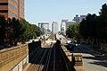 Boston skyline over Cambridge Subway portal, September 2009.jpg