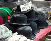 A display of new bowler hats for sale in 2005 (Portobello Market, London)