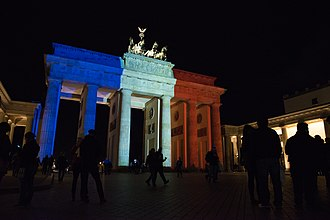 Flag of France - The Brandenburg Gate in Berlin was one of many world landmarks illuminated in the French flag colors after the November 2015 Paris attacks.