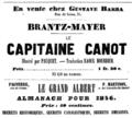 Brantz-Meyer, Le capitaine Canot, publicité de 1855.png