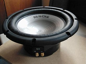 Subwoofer - 12-inch (30 cm) subwoofer driver (loudspeaker). A driver is commonly installed in an enclosure (often a wooden cabinet) to prevent the sound waves coming off the back from canceling out the sound waves being generated from the front of the subwoofer.