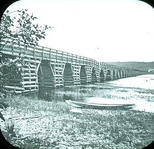 Crib bridge - Bridge across Nerepis River at Westfield, 1875