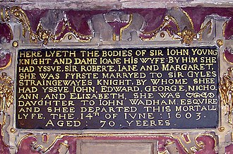 Monumental inscription - The inscription, carved in stone, on the monument of Sir John Young and Dame Joane, erected in 1606 in Bristol Cathedral, Bristol, England. Sir John entertained Queen Elizabeth when she visited Bristol in 1574 and was knighted by her.