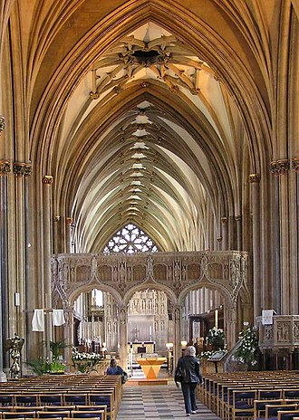 Architecture of the medieval cathedrals of England - The lierne vault of the chancel at Bristol.