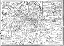 A very dense map of Greater London as it appeared in 1911