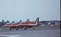 British Aerospace Hawk T1A Royal Air Force Red Arrows, Farnborough UK - England, September 1988. (5589925944).jpg