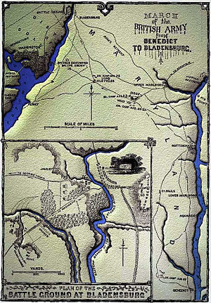 Battle of Bladensburg - Image: British march from Benedict to Bladensburg, 19 August 1814