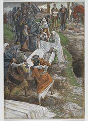 Le corps de Jésus porté à la pierre de l'onction