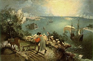 Dutch and Flemish Renaissance painting - The Fall of Icarus, now considered a copy of Pieter Bruegel the Elder