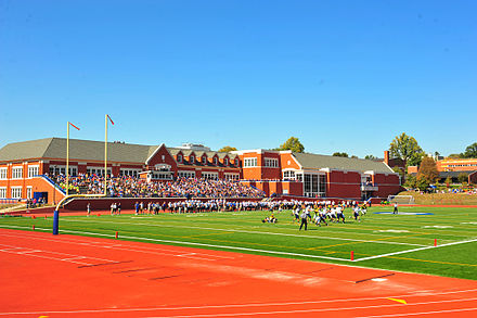 The Bruner Fitness Center during a home football game.