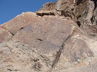 Dzungar Khanate - Buddha images and Tibetan mantra on rocks near Almaty