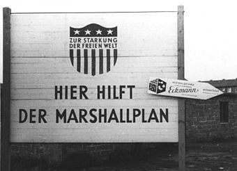 Notice board on the Marshall Plan