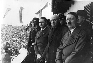 1936 Winter Olympics - Opening Ceremony with  Rudolf Hess, president of IOC count Henri de Baillet-Latour, and Adolf Hitler