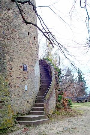 Zähringen castle - Image: Burg Zähringen, Turm von Osten (Treppe)