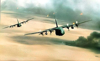 139th Airlift Wing - 180th Tactical Airlift Squadron flying over Kuwait 1991