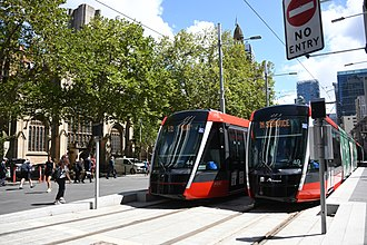 The CBD and South East Light Rail connects Sydney's CBD with the South Eastern suburbs CBD light rail 001.jpg