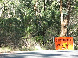 Bushfires in Victoria - Signage indicating to motorists that smoke from controlled burns may be in the area
