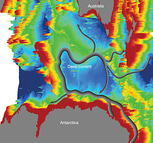 Ocean current - The bathymetry of the Kerguelen Plateau in the Southern Ocean governs the course of the new current part of the global network of ocean currents (Source:CSIRO)