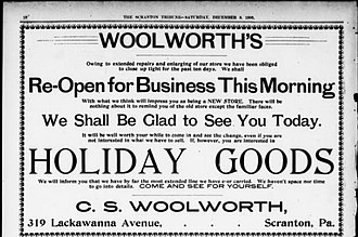 Charles Sumner Woolworth - Image: CSW re opening at 319 Lacka Ave Scranton PA c 1900