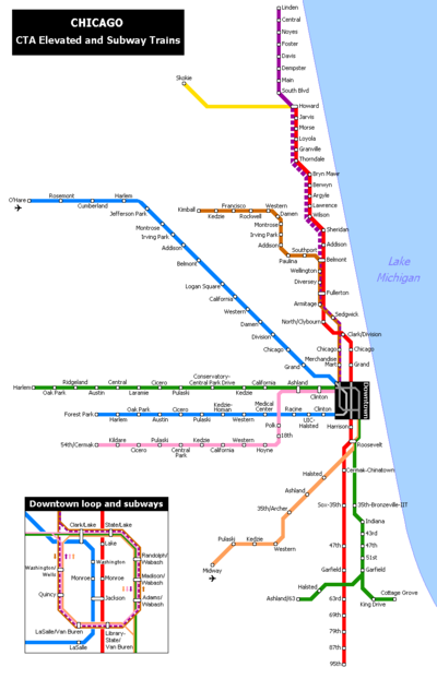 Map of the Chicago 'L'.