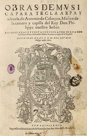 Antonio de Cabezón - Title page of Obras de música