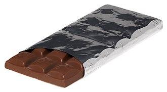 Chocolate bar - A Cadbury Dairy Milk Caramel bar in its foil wrapper