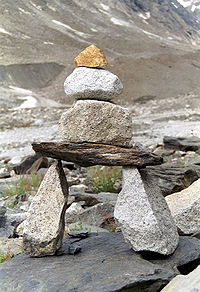 A cairn to mark the way along a glacier.