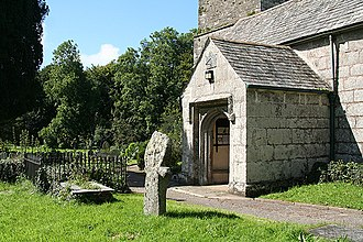 Camelford - A Cornish cross in the churchyard at Lanteglos; it was found in a blacksmith's shop at Valley Truckle