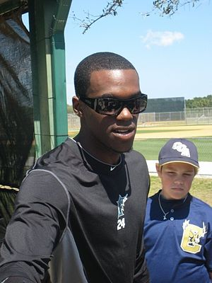 Cameron Maybin - Maybin during his tenure with the Florida Marlins in 2010 spring training