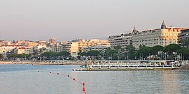 The InterContinental Carlton Cannes Hotel seen at sunset
