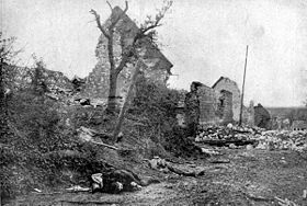 The ruins of Carency after it was recaptured by France.