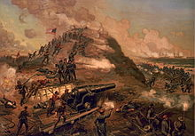 19th century lithograph of the Second Battle of Fort Fisher