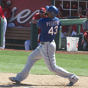 Carlos Peguero - Peguero batting for the Texas Rangers in 2015 spring training