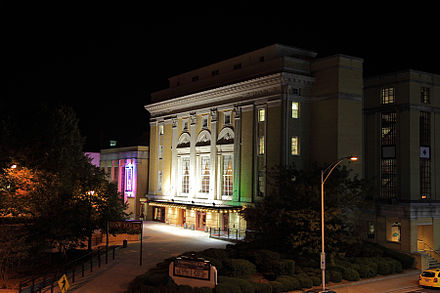 The Carolina Theatre was the first theater in Durham to admit African-Americans. Carolina Theatre at night.jpg