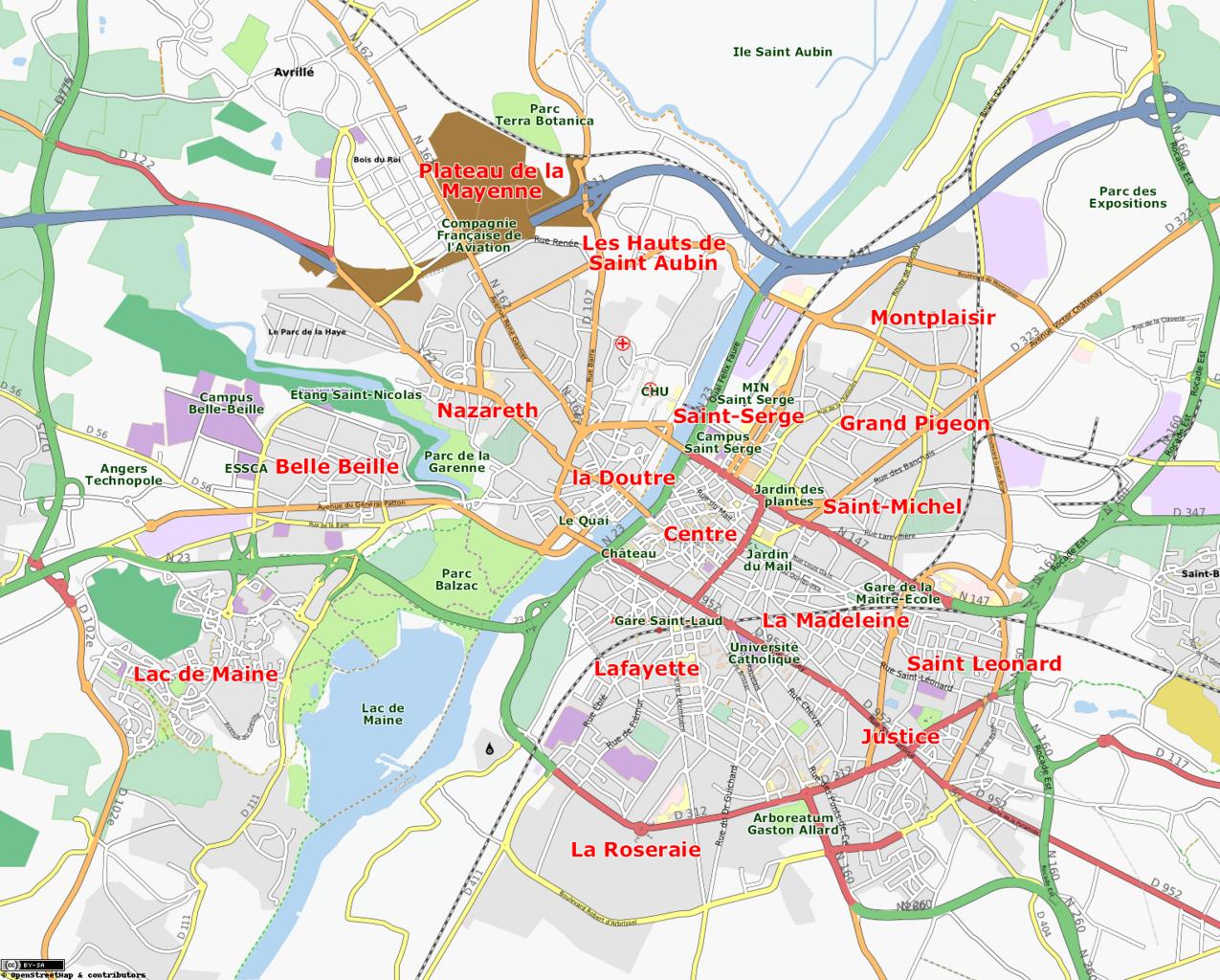 Carte Centre Ville D Angers