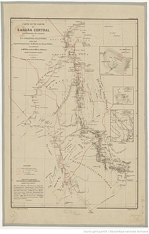 Paul Flatters - Part of the Central Sahara showing routes of the two missions from the draft Ministry of Public Works map and the itinerary of H. Brosselard, member of the 1st expedition