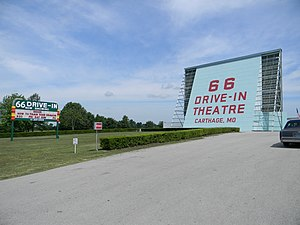 U.S. Route 66 in Missouri - A 1949 drive-in cinema entertained viewers before the 1953 arrival of local TV stations to Joplin-Springfield