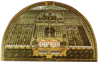 Villa di Castello - Lunette of Villa di Castello as it appeared in 1599, painted by Giusto Utens