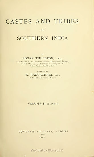 Castes and Tribes of Southern India - Title page of the first volume of Castes and Tribes of Southern India