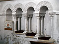 Castle Hedingham, St Nicholas' Church, Essex England, chancel south sedilia and piscina.jpg