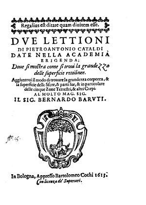 Pietro Cataldi - Due lettioni, 1613