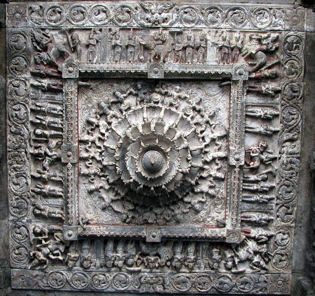File:Ceiling Stone carvings at vellore fort temple.jpeg